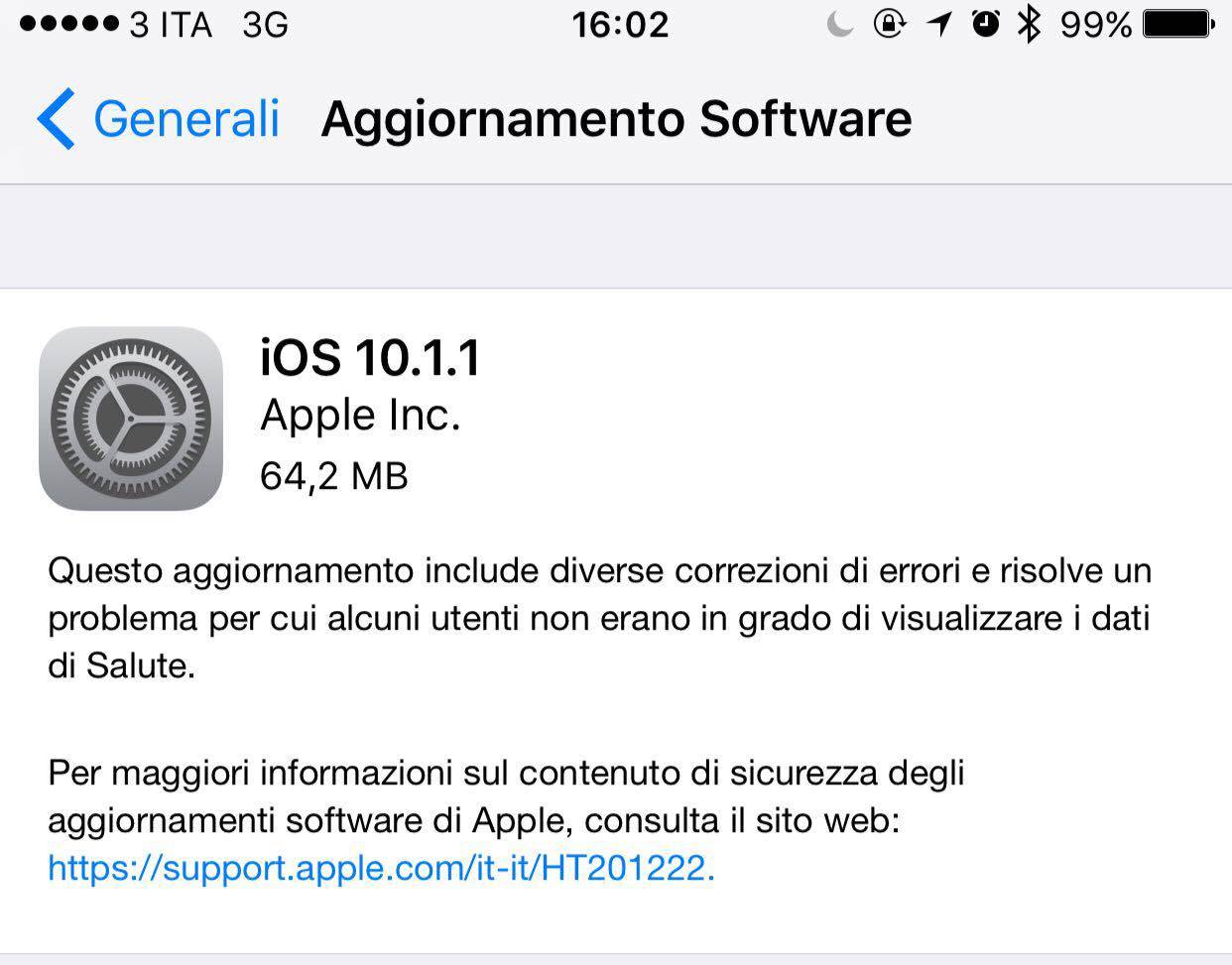 Apple rende disponibile iOS 10.1.1