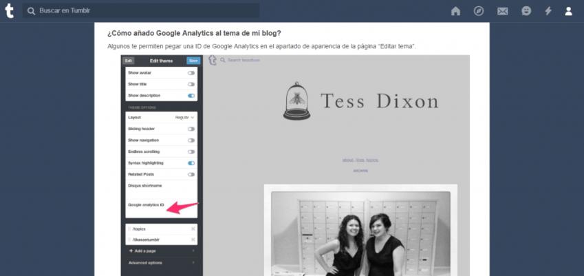 Integrar Google Analytics en Tumblr