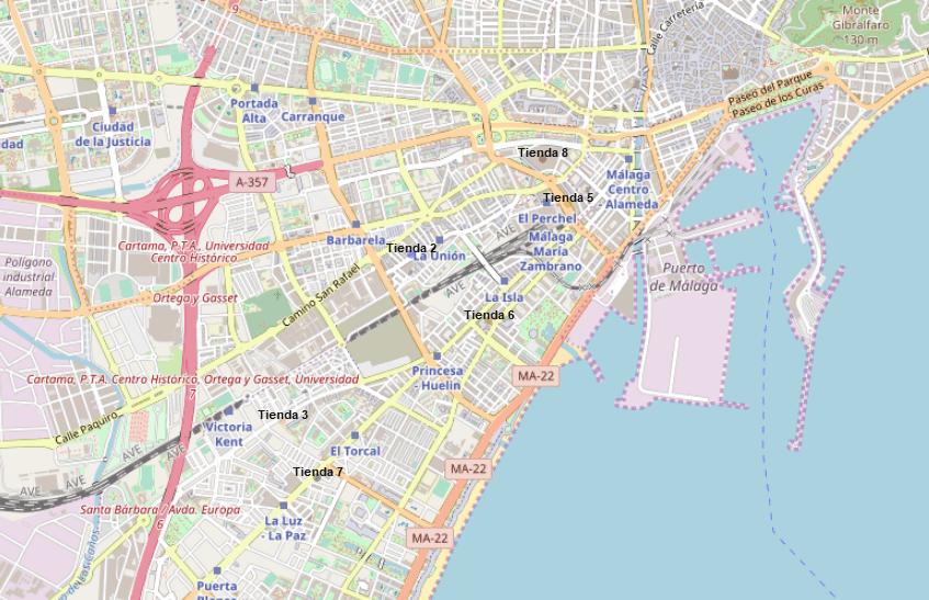 Figura-1. Muestra localización de 6 de las 11 tiendas Vodafone-TOPDigital de la ciudad de Málaga