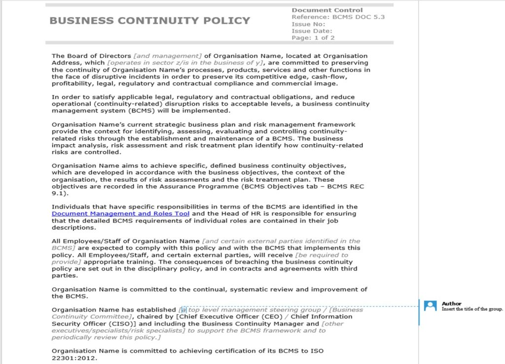 How to write an ISO 22301-compliant business continuity policy \u2013 IT