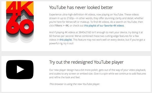 YouTube Debuts Redesigned Player And 60FPS 4K Videos Via TestTube