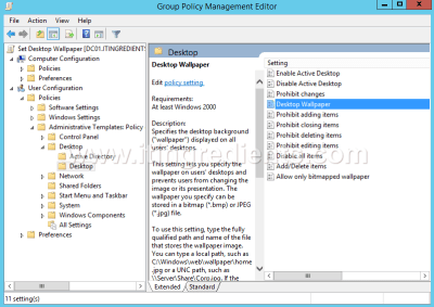 How to deploy Desktop Wallpaper through Group Policy in Server 2012