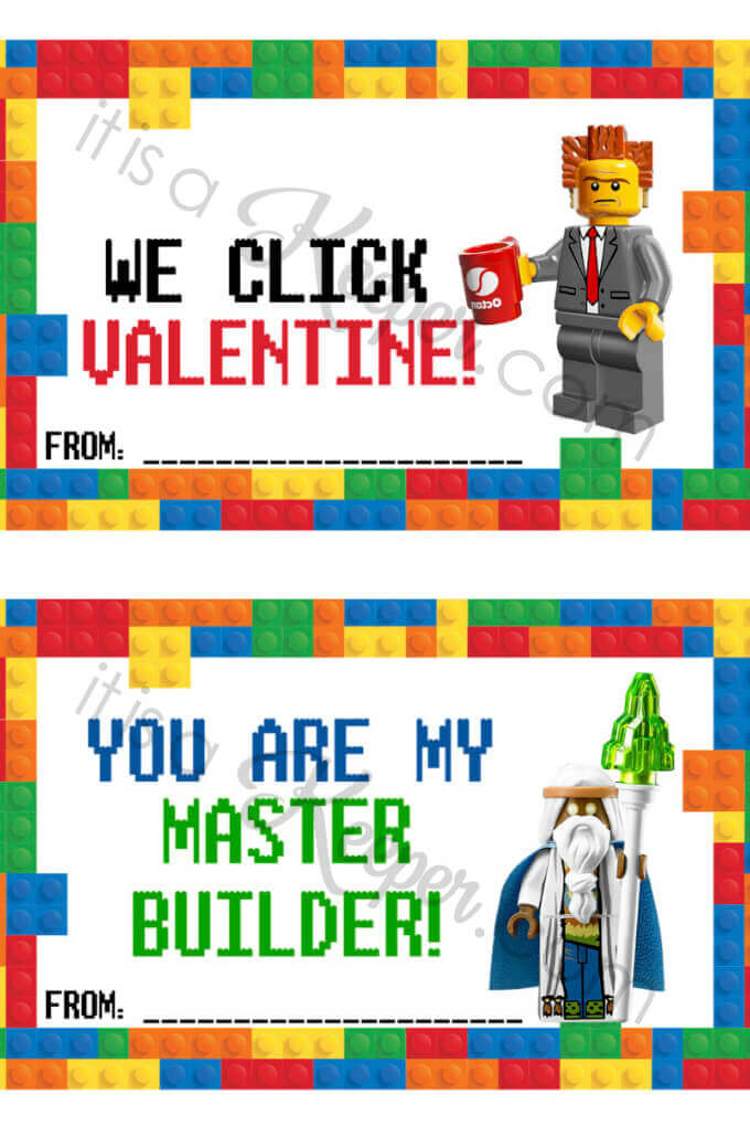 LEGO Valentine Cards - free printable It Is a Keeper