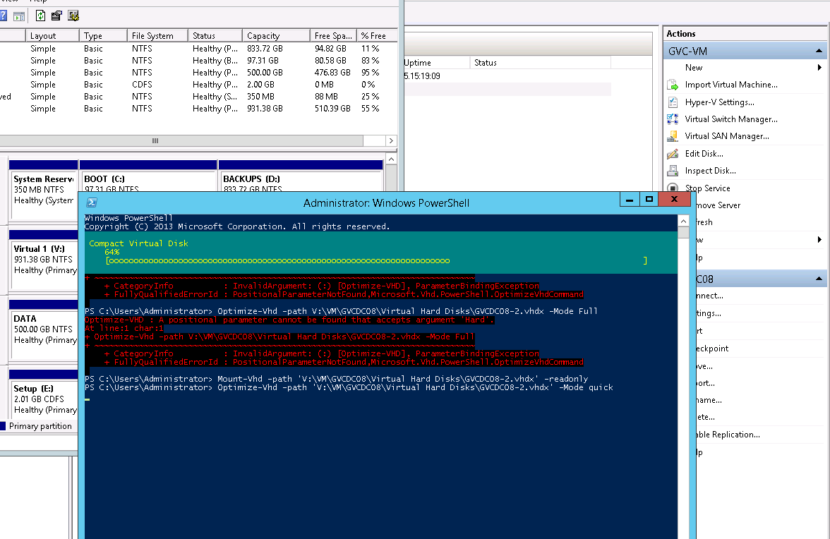 Compacting a VHDX dynamically expanding virtual disk in Windows Server 2012 Hyper-V