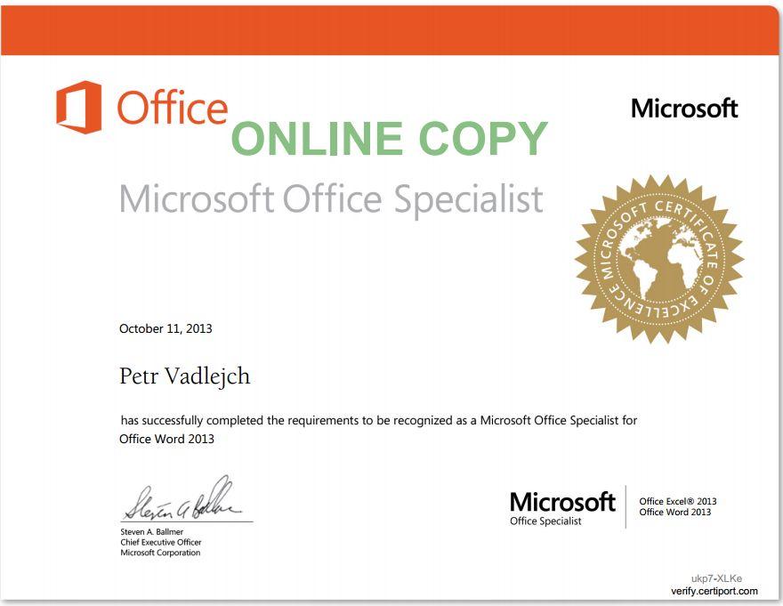 Certificates \u2013 ITlektorcz \u2013 MS Office specialist