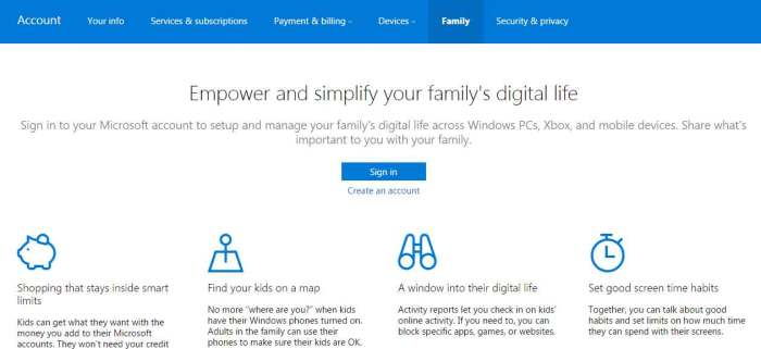 windows phone parental controls sign in