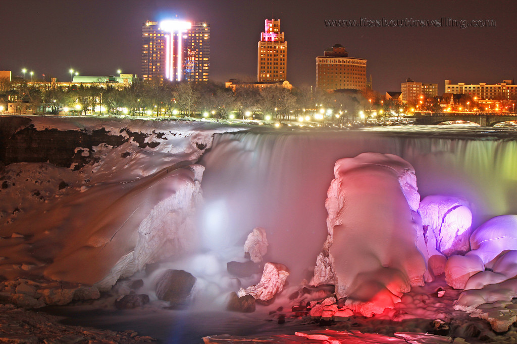 Niagara Falls At Night Wallpaper Niagara Falls A Winter Night Illuminated With Colour