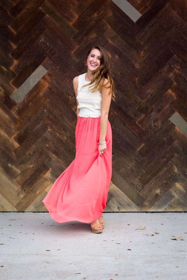 Fringe crop top + coral maxi skirt   Summer Fashion   A letter to myself   It's All Chic To Me