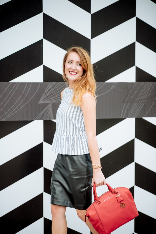 Business chic style: leather pencil skirt + peplum top