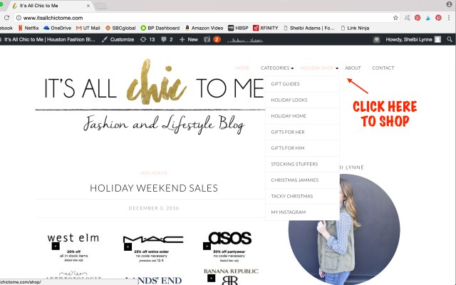 It's All Chic To Me holiday shop