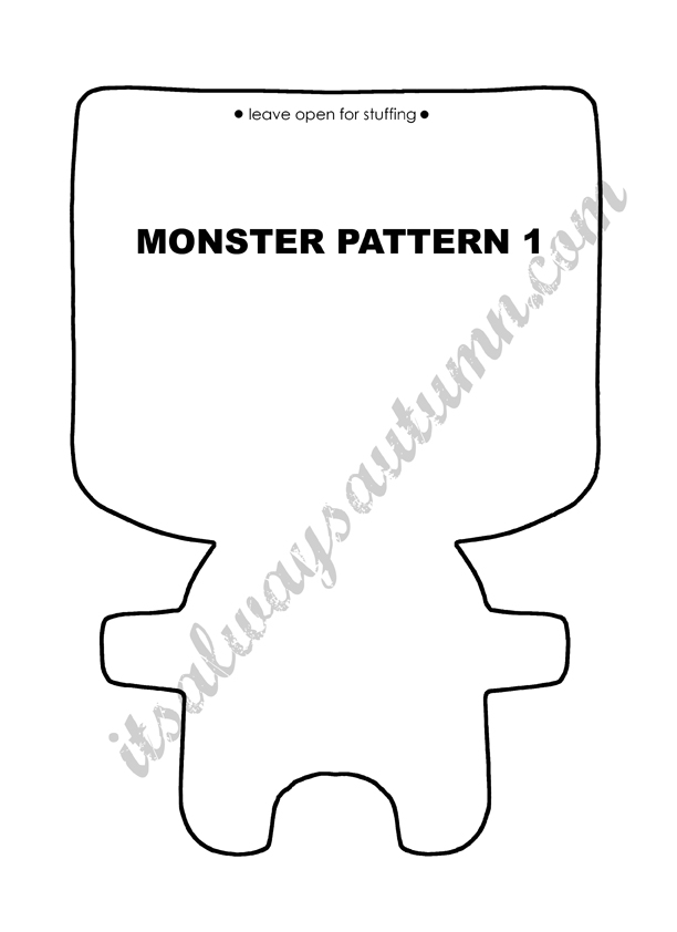free easy sewing pattern for felt monster dolls - Monster Template