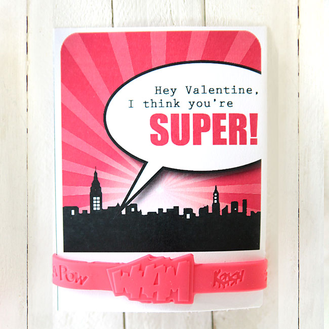 free printable for superhero bracelet Valentine\u0027s day cards