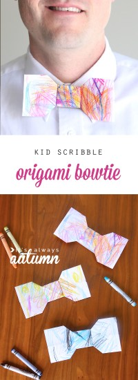 kid scribble origami bowtie | easy Father's Day gift kids ...