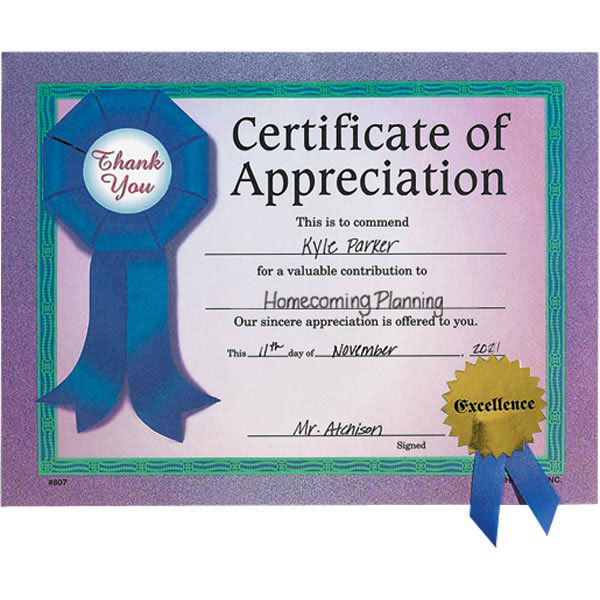 Gold Seal Certificate - Appreciation Ribbon Anderson\u0027s