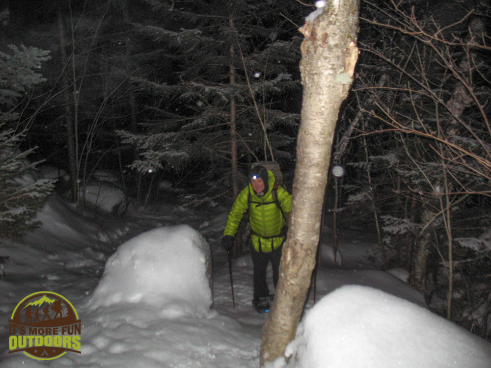 3.8.15: Pre dawn climb of Mt Jo! Chris had too much weight and the climb in winter was much steeper than we remembered from summer. Looking a little miserable!