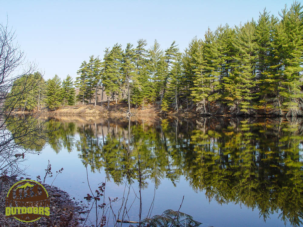 Glassy water and blue skies - perfect. Morning coffee should be like this every day! Our breakfast nook on campsite 13, Low's Lake, Bog River Flow, Adirondacks, NY May 2015