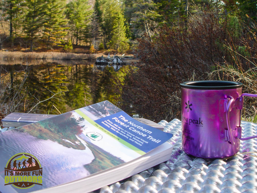 Morning coffee should be like this every day! Our breakfast nook on campsite 13, Low's Lake, Bog River Flow, Adirondacks, NY May 2015