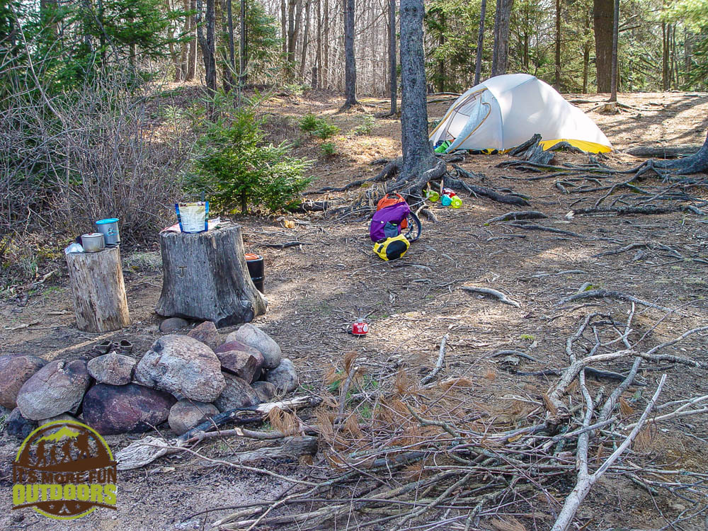 Making breakfast and breaking camp on campsite 13, Low's Lake, Bog River Flow, Adirondacks, NY May 2015
