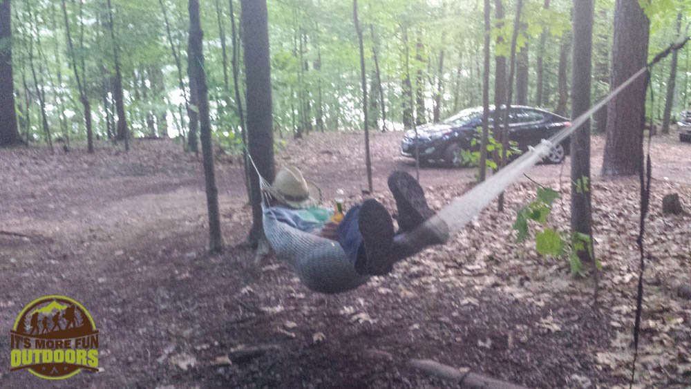 Our hammock was a popular attraction at the AWESOME group campsite. Car Camping, hiking, kayaking, canoeing at Moreau Lake State Park Campground