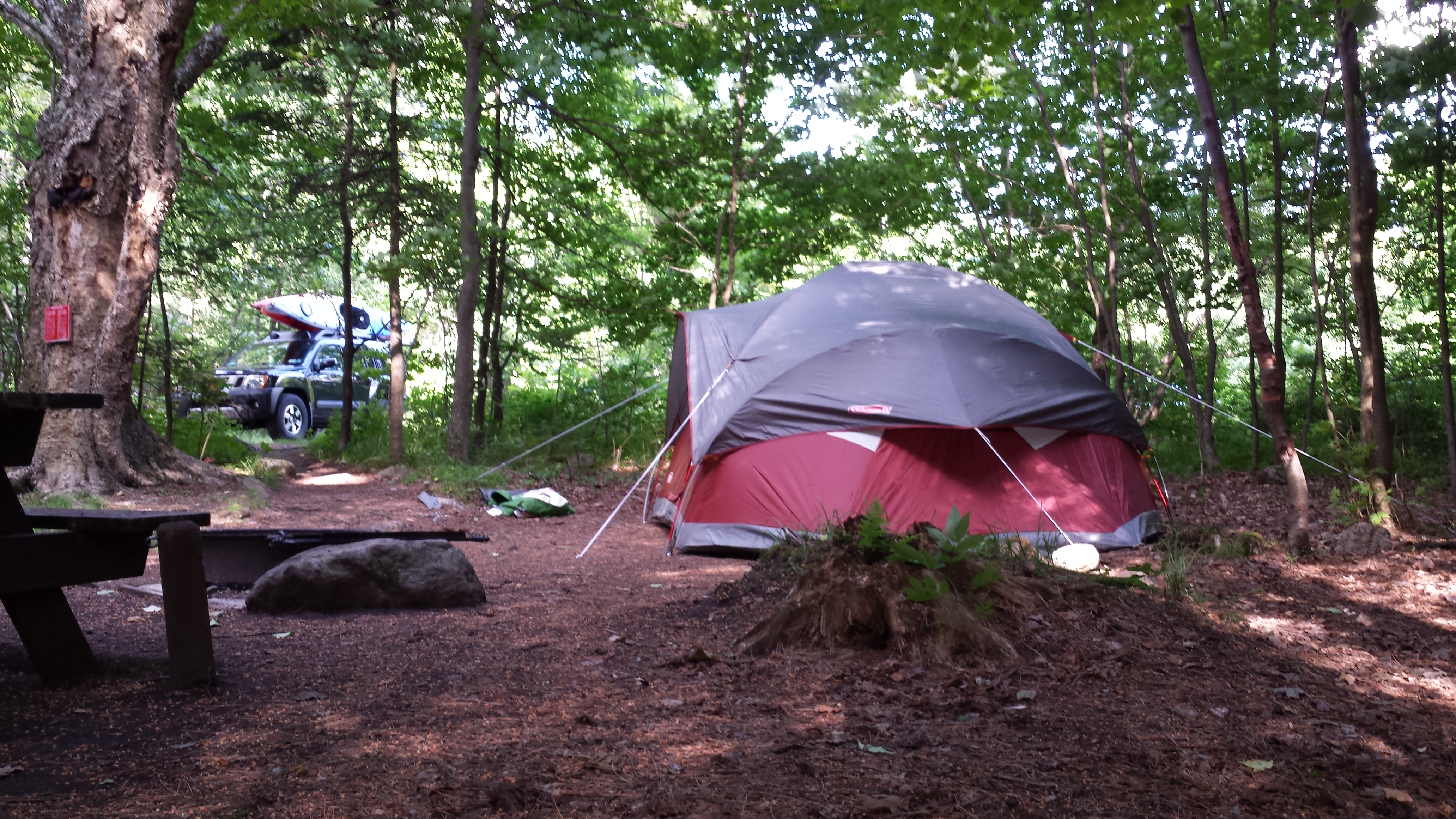 A tent campsite at ADK's Wilderness Campground at Heart Lake.