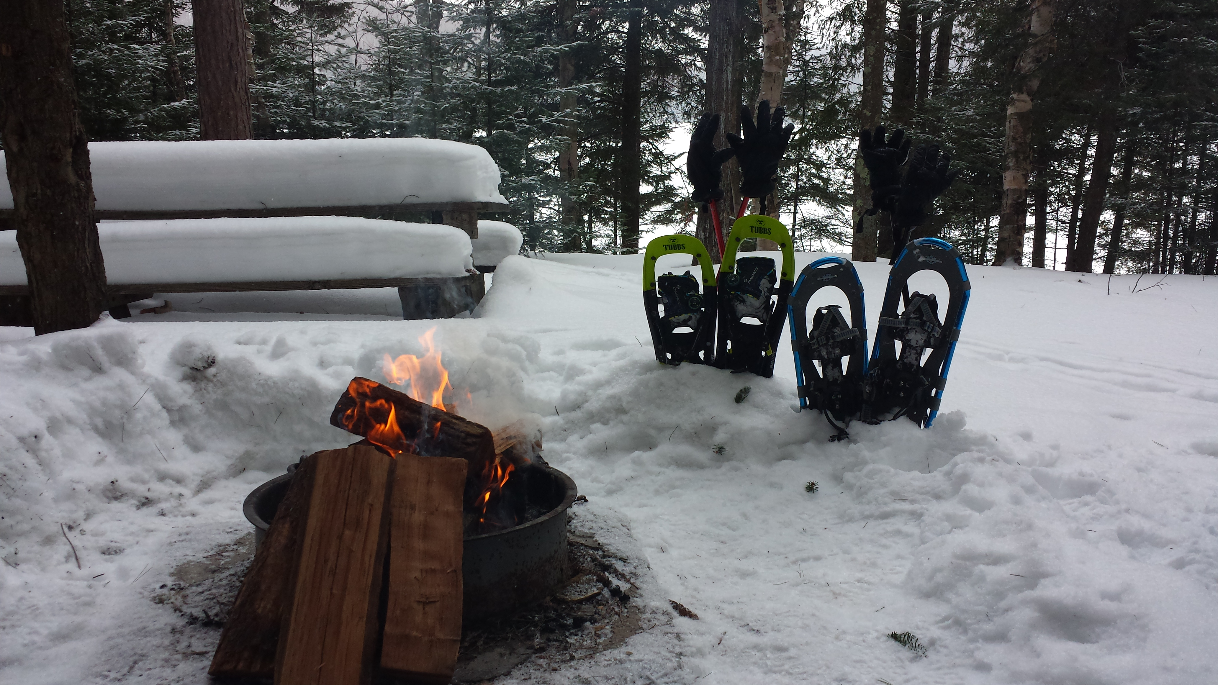 Ready for some Winter fun! Lean to camping in the Winter at ADK's Wilderness Campground at Heart Lake.