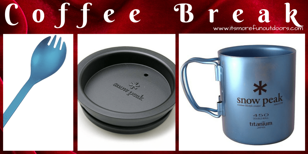 SNOW PEAK DOUBLE WALL TITANIUM MUG, WITH LID AND MATCHING SPORK-One of 25 Awesome, Essential Stocking Stuffers to Give Outdoor Lovers!