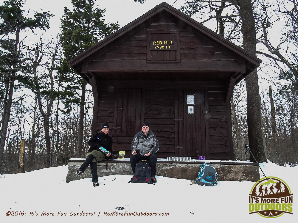Snacks and cocoa on the porch of the ranger cabin. Red Hill Fire Tower in the Catskill Mountains: Our First Winter Fire Tower Challenge Hike!