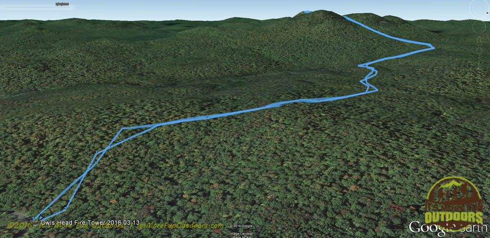Overview of our hike as tracked with our Garmin Oregon 550t GPS Unit. Owl's Head Fire Tower Winter Challenge Hike, March 13, 2016. Long Lake, Adirondacks, NY