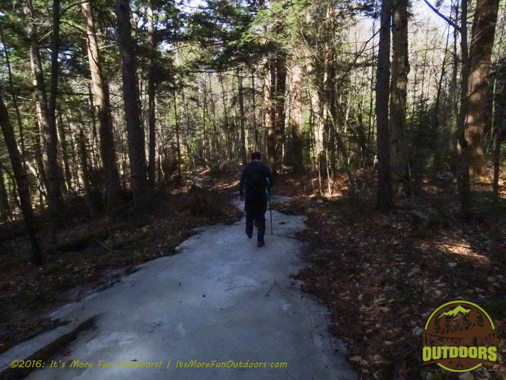 The one really icy section of the first couple miles. Owl's Head Winter Fire Tower Challenge Hike, Long Lake, NY, Adirondacks, March 13, 2016