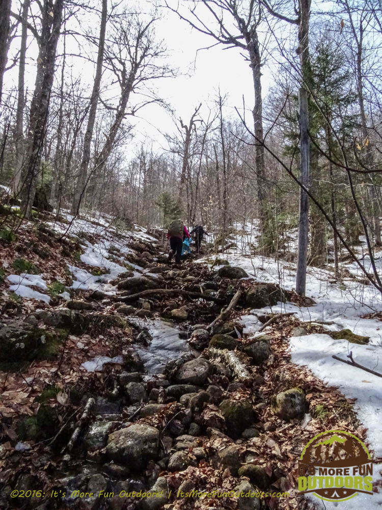 You can see more of this rocky stream bed we followed in the video. Tricky footing slowed us down here on ascent and descent. Owl's Head Winter Fire Tower Challenge Hike, Long Lake, NY, Adirondacks, March 13, 2016