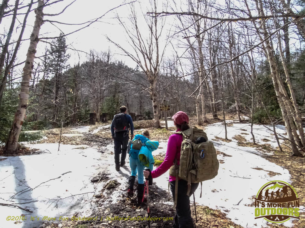 A peek at our summit from the site of the Observer's Cabin. Owl's Head Winter Fire Tower Challenge Hike, Long Lake, NY, Adirondacks March 13, 2016