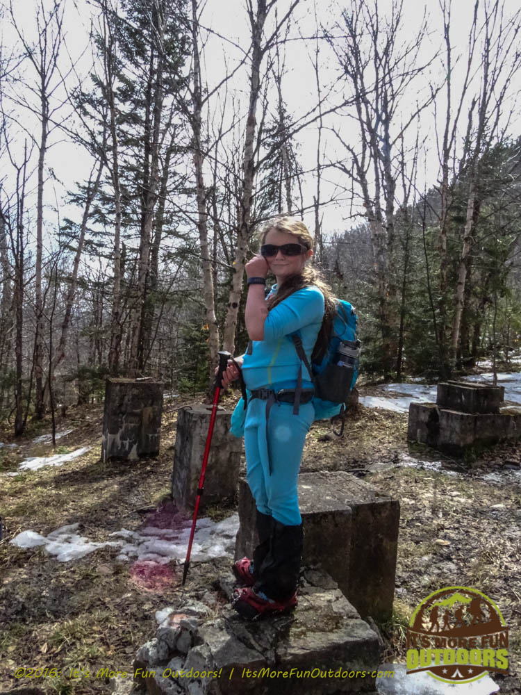 """Dora, """"knocking"""" on the door of the Observer's Cabin. Owl's Head Winter Fire Tower Challenge Hike, Long Lake, NY, Adirondacks March 13, 2016"""