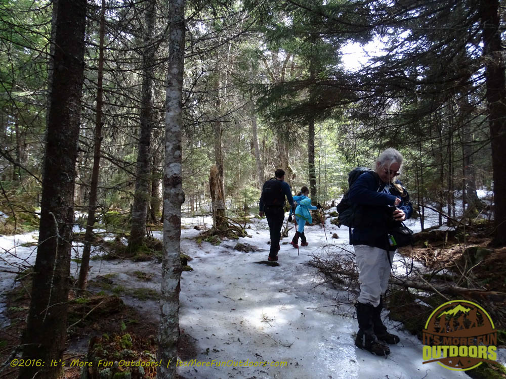 When you reach a nice flat forest walk, you are ALMOST THERE!!! Keep looking ahead for the tower, very hard to see through the trees even in the Winter! Owl's Head Winter Fire Tower Challenge Hike, Long Lake, NY, Adirondacks March 13, 2016