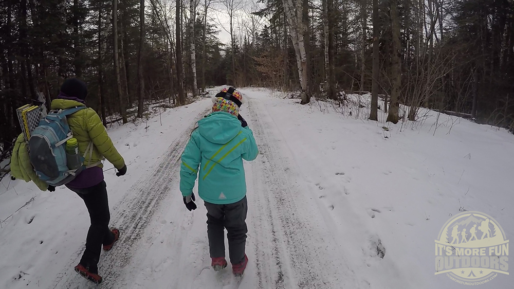 The Belfry Mountain trail is actually a truck road, it was plowed and easy to follow! 2/15/2016: Belfry Mountain Winter Fire Tower Challenge Hike!