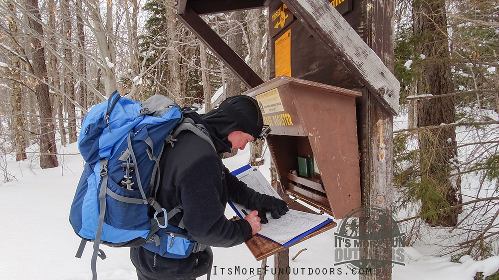 Signing in at the trail register! Blue Mountain Winter Fire Tower Challenge Hike!