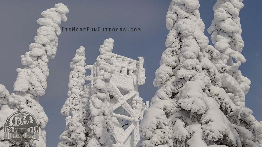 Our summit and the Fire Tower, WOWSERS! Blue Mountain Winter Fire Tower Challenge Hike!
