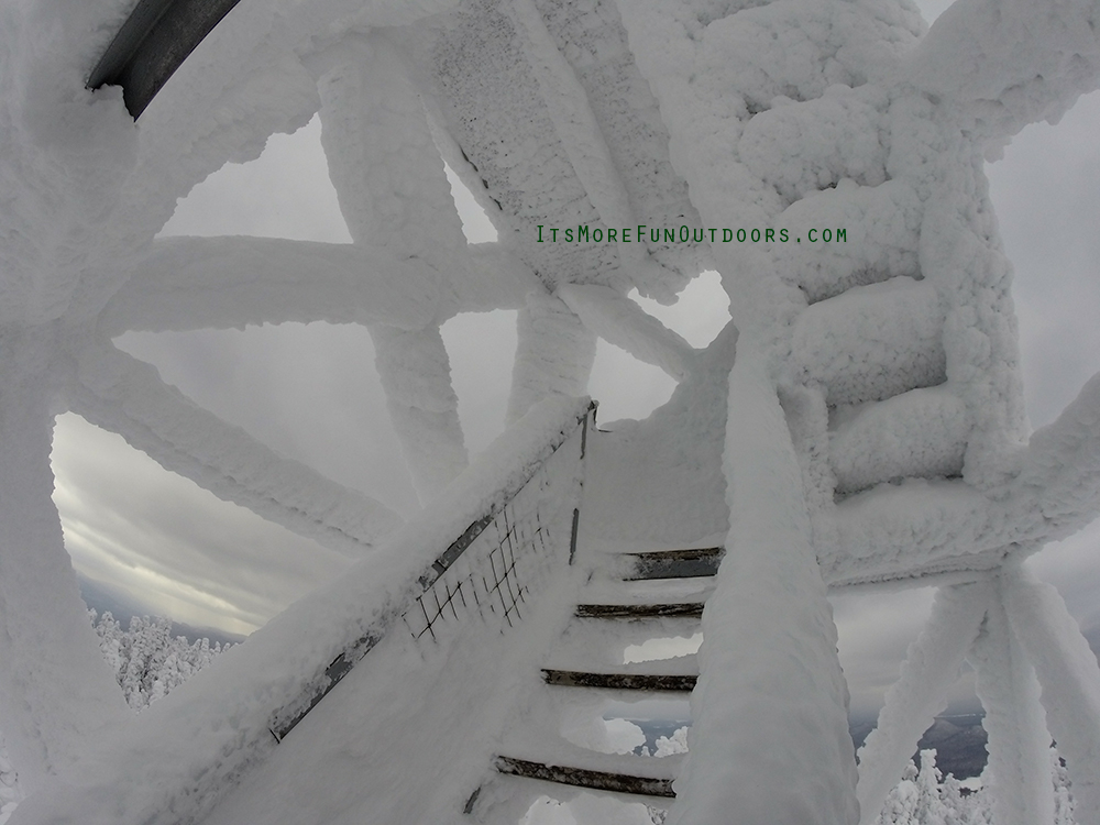 Snowy, frosty, icy tower stairs! If you attempt this tower, use traction and common sense. Blue Mountain Winter Fire Tower Challenge Hike February 5, 2017.