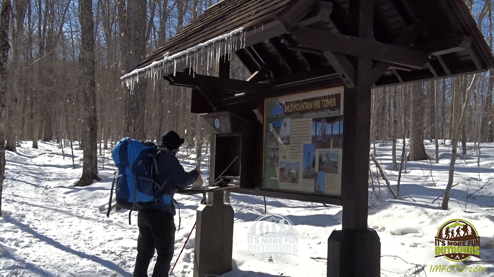 The trailhead and trail register are right at the edge of the parking lot. 3/5/2017: Bald (Rondaxe) Mountain Winter Fire Tower Challenge Hike!