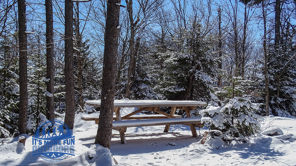 A picnic table in the most perfect picnic spot EVER! Stillwater Mountain Winter Fire Tower Challenge Hike! 3/5/17