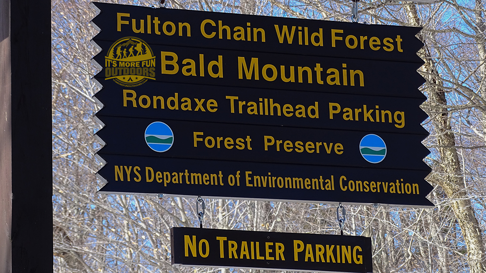 DEC signage for Bald Mountain trail head parking. 3/5/2017: Bald (Rondaxe) Mountain Winter Fire Tower Challenge Hike!