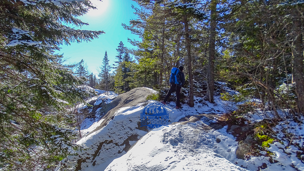 There were a lot of tracks going right at this spot near the summit. Stay to the left, along the crazy looking ridge. 3/5/2017: Bald (Rondaxe) Mountain Winter Fire Tower Challenge Hike!