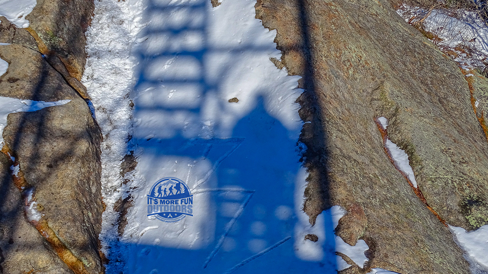 Shadow selfie with the Fire Tower. 3/5/2017: Bald (Rondaxe) Mountain Winter Fire Tower Challenge Hike!