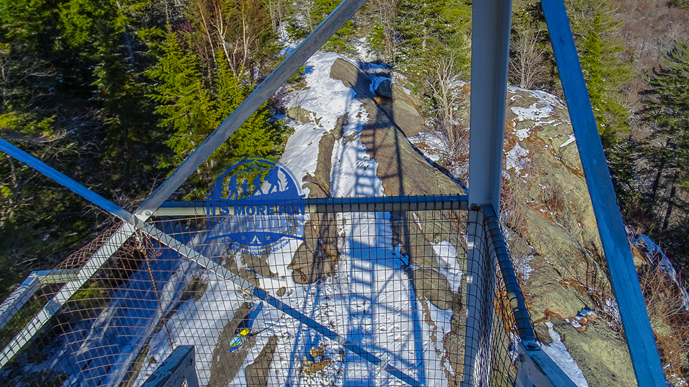 Shadow of the tower on the summit. 3/5/2017: Bald (Rondaxe) Mountain Winter Fire Tower Challenge Hike!