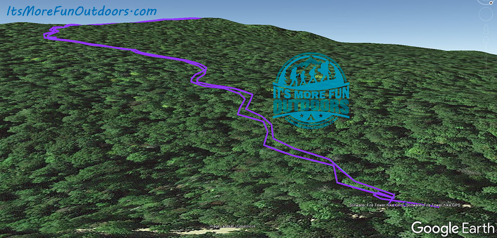 Overlay of our GPS track on Google Earth. Stillwater Mountain Winter Fire Tower Challenge Hike! 3/5/17