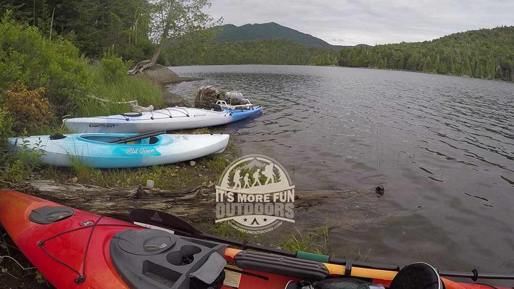 A small beach to take out at the third camp, Henderson Lake Kayak Camping, Tahawus Hike!