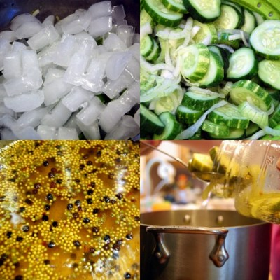 To make bread and butter pickles you salt the cucumbers and sliced onions and let it marinate under ice for a few hours. You then rinse the salt off, making the pickling liquid, add the cucumbers and onions then cram it all in a big jar.