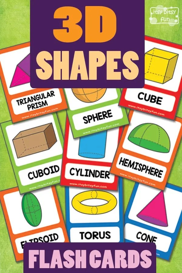 3D Shapes Flashcards - Itsy Bitsy Fun