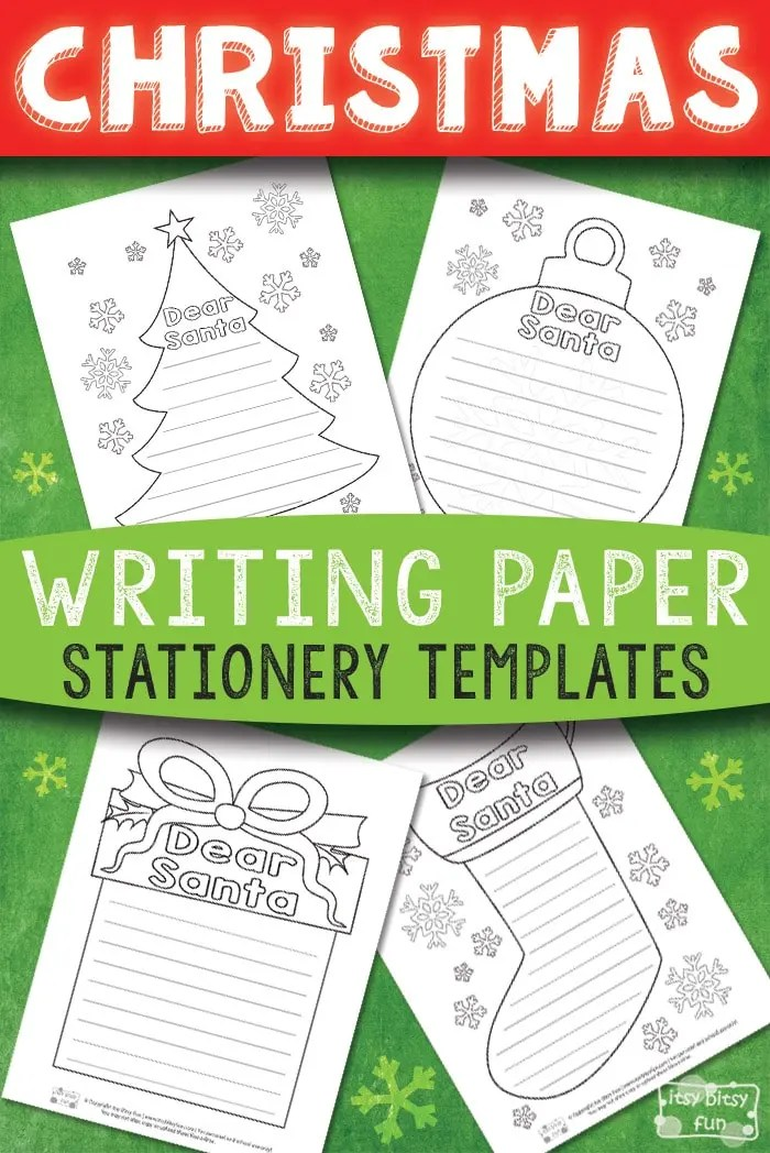 Printable Christmas Writing Stationery Papers - Itsy Bitsy Fun