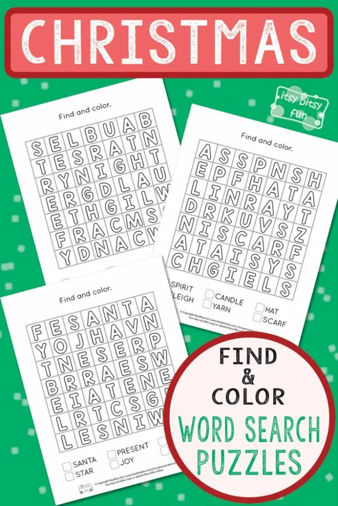 Christmas Find and Color Word Search Puzzles - Itsy Bitsy Fun