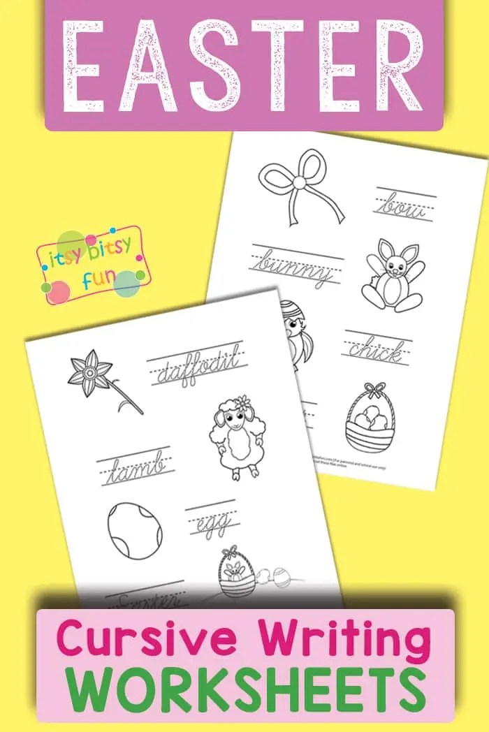 Easter Cursive Writing Worksheets - Itsy Bitsy Fun